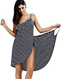FFVWVGGPAA Serviette Poncho Bikini Cover Up pour Femmes Maillots de Bain Sexy Spaghetti Strap Backless Fashion Stripe Wrap Beach Dress Plus Size F0070016(Color:Navy;Size:3XL-3XLarge)