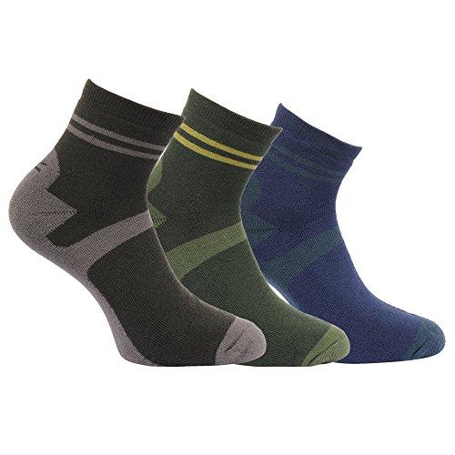 Regatta Active Lifestyle Herren-Socken, schnelltrocknend, antibakteriell, Rippstrick, 3 Stück XXL Raven/Bay/Marineblau