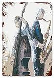 DECISAIYA Vendimia Cartel de Chapa metálica Pintura Divertida Saxofón Violonchelo Tocar Orquesta Sketch Art Placa Póster,Decoraciones de de Pared de Hierro Retro para Café Bar Pub Casa 20x30cm