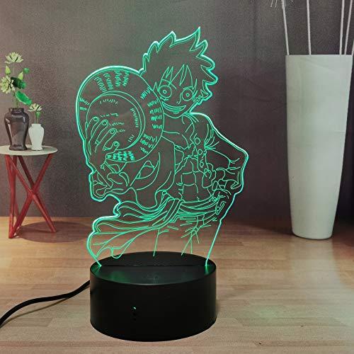 One Piece Luffy - Lámpara 3D con mando a distancia y mando a distancia LED, para dormitorio, 16 colores para niños, niñas, cumpleaños, luz de Navidad (Luffy Hat)