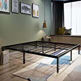 45MinST 18 Inch Platform Bed Frame/Easy Assembly Mattress Foundation / 3000lbs Heavy Duty Steel Slat/Noise Free/No Box Spring Needed, Twin/Full/Queen/King/Cal King (Queen)