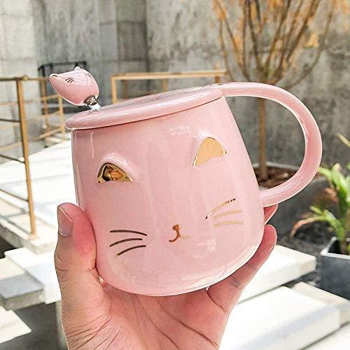 Taza de cerámica para café / té,Cuchara de 400ml con tapa simple en relieve gato pareja niños S leche taza de desayuno gato rosa