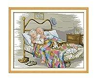 古い夫婦の愛の絵画はキャンバス中国のクロスステッチ刺繍で印刷をカウント刺繍キット・パッケージ、パープル、28CT印刷されていないを設定します。