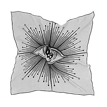 Women s Soft Polyester Silk Scarf 23.62 x23.62  large Square Printed Blackwork Tattoo Flash Eye Providence Masonic Silk Feel Scarf