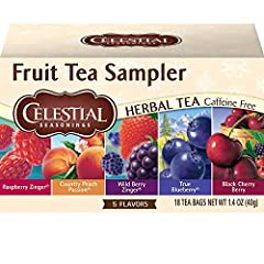 Six 18-count sampler box of Herbal Fruit tea bags Includes five of our most popular herbal tea flavors Caffeine and gluten-free No artificial flavors or artificial preservatives Steep in hot water for 4-6 minutes for the perfect cup