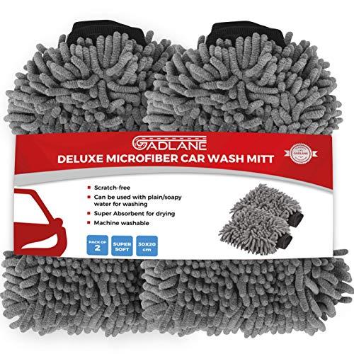 GADLANE Microfibre Car Wash Mitts - 2 Large Noodle Gloves, Anti-Streak & Anti-Scratch Car Cleaning Mitt, Lint Free Wash Mitt For Car Washing - Pack of 2