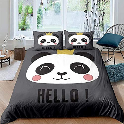 HUA JIE Single Bed Sheets Set Girls Duvet Cover Full Kids Panda Comforter Cute Cartoon Animal Bedding Set White And Black Pattern Child Soft Gray Bedspreads For Toddler Teens Boys