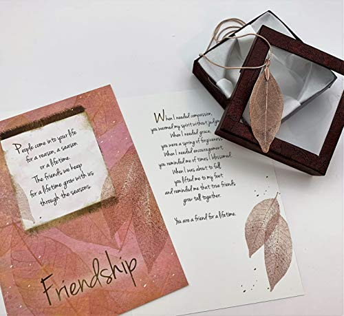 Smiling Wisdom - Rose Gold Real Leaf Friendship Greeting Card and Necklace Gift Set - Reason Season Lifetime Friend - Bohemian Statement Sweater Jewelry - Her, Woman, True BFF - Pink Gold