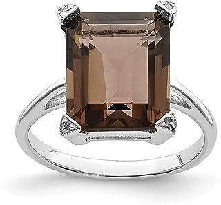 925 Sterling Silver Smoky Quartz Diamond Band Ring Stone Gemstone Fine Jewelry For Women Gift Set