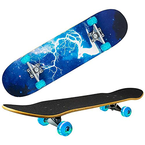 Skateboards for Beginners Kids Teens Adults with Light Up Wheels,31
