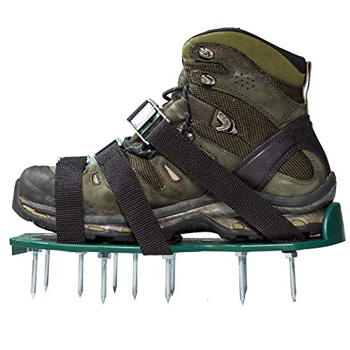 Punchau Lawn Aerator Shoes w/Metal Buckles and 3 Straps - Heavy Duty Spiked Sandals for Aerating Your Lawn or Yard