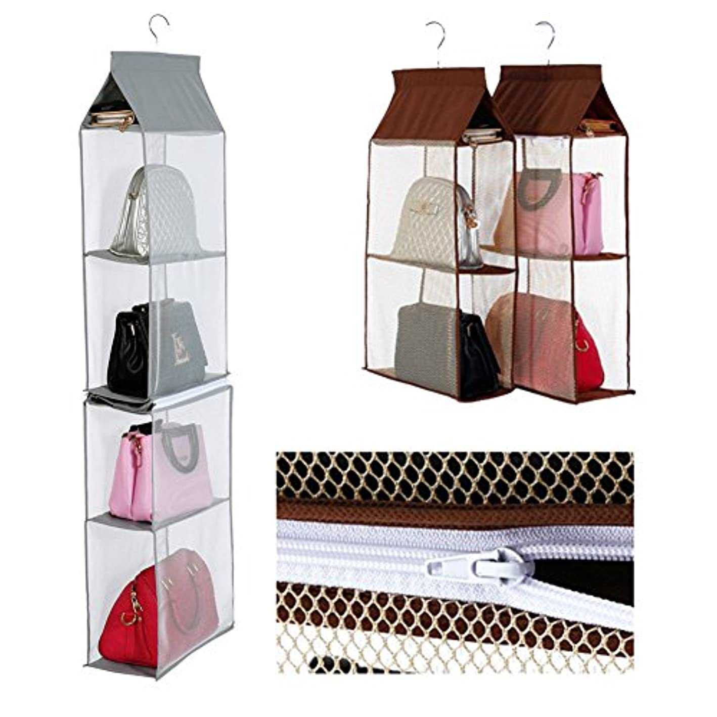 Hanging Handbag Organizer 6 Compartment Purse Clutch Bag Collection Storage Holder Wardrobe Closet Space Saving Organizers System Dust-Proof Foldable for Shoes Handbags etc. Home Bedroom Use