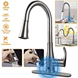 Touchless Kitchen Sink Faucets, Kitchen Faucets with Pull Down Sprayer,Motion Sense Wave Faucet High Arc Single-Handle Brushed Nickel 1or 3 Hole Deck Mount 2 Mode,Easy to Install,Spot Resist…