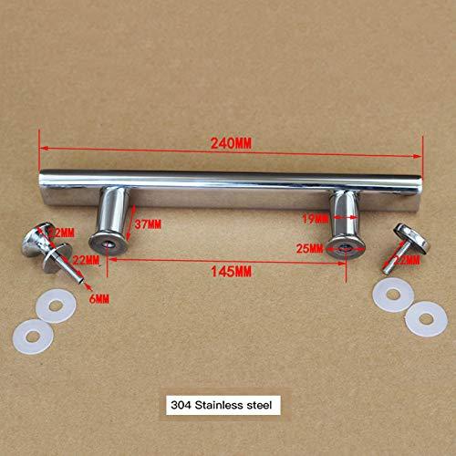 NHFVIRE Edelstahl-Dusche-Raum Glastürgriffe 145mm Loch Pitch Glastürgriffe Badmöbel Griff 304 Stainless Steel