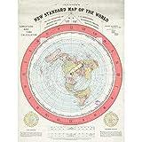 Map Gleason 1892 World Time Calculator Flat Earth Large Wall Art Poster Print Thick Paper 18X24 Inch Karte Welt Wand Poster drucken