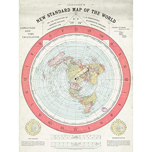 Map Gleason 1892 World Time Calculator Flat Earth Large XL Wall Art Canvas Print
