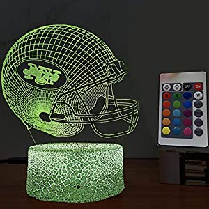 U/D NFL 3D 16 Colors Led Night Light with Team Badge Mini Helmets Decoration for Men Teenymates Fans at Living Room Home Bar -New_York_Jets