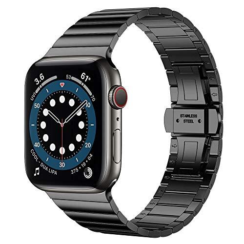 SENDORFF Hype - Pulsera de eslabones para Apple Watch, compatible con series 1/2/3/4/5/6 y SE, acero inoxidable, 38 mm, 40 mm, 42 mm, 44 mm, color negro