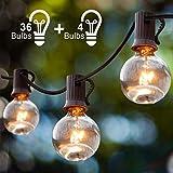 Guirlande Guinguette Extérieur,12,8M Guirlande Lumineuse Extérieur et Intérieur avec 36 G40 Ampoules et 4 Ampoules de Rechange, Guirlande Decorative Raccordable pour Fête Soirée Terrasse Jardin