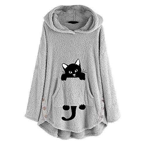 WMNU Womens Fleece Hoodies Sweatshirt Plush Fur Cat Embroidery Plus Size Warm Hoodie Tops Button Women Pullovers Winter Jumpers