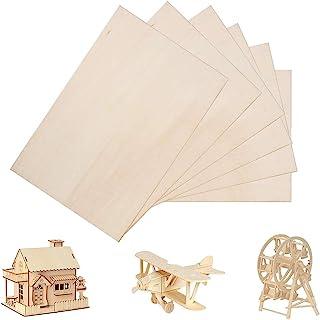 6 Pack Balsa Wood Sheets, Basswood Thin Wood Sheets Hobby Wood MDF DIY Wood Board for House Aircraft Ship Boat DIY Wooden ...