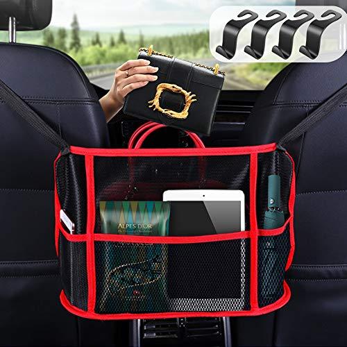 GES Bolsa de almacenamiento plegable de red para coche, organizador de malla de 3 capas, bolsa de almacenamiento para colgar en la parte trasera entre dos asientos con 4 ganchos de mano (negro)