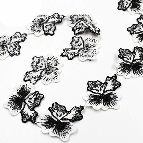 45mm geborduurd zwart wit wateroplosbaar kant lint versieringen diy kleding stof kant materiaal bruiloft feestjurk decoratie