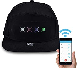 OOOUSE Smart LED Hat Mobile APP Controlled Display Words Flat Peak Cap for Women Men Baseball Trucker Halloween Birthday New Year's Christmas Party