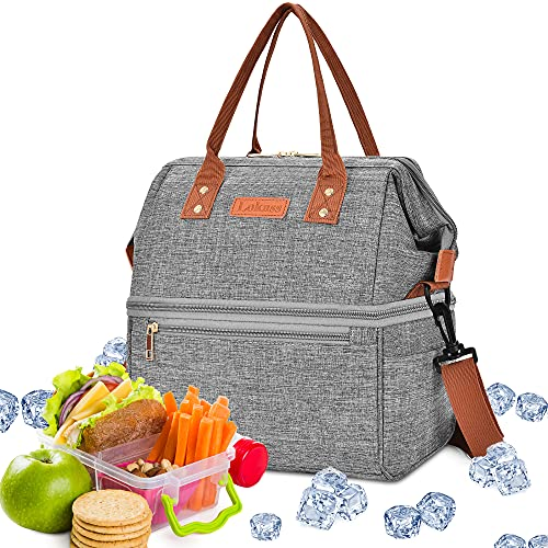 DTBG Lunch Bags for Women Wide Open Insulated Lunch Box With Double Deck Large...