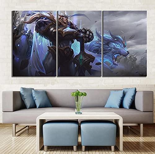 Póster de 3 paneles God King Garen Skin League Of Legends juego lienzo pintura HD impresión imágenes arte de pared sala de estar 50X70CM