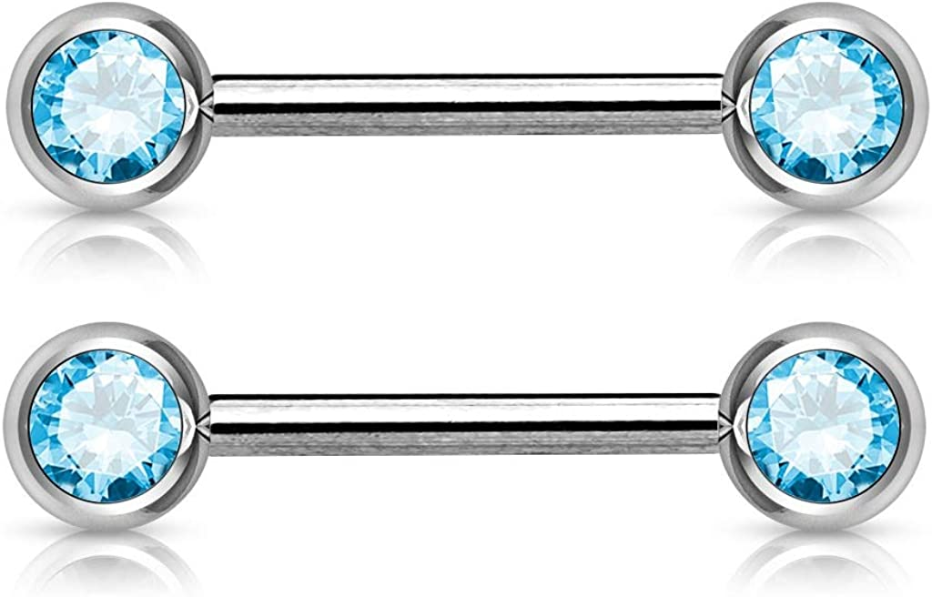 14GA 316L Stainless Steel Double Gemmed Front Facing Nipple Barbells, Sold as a Pair