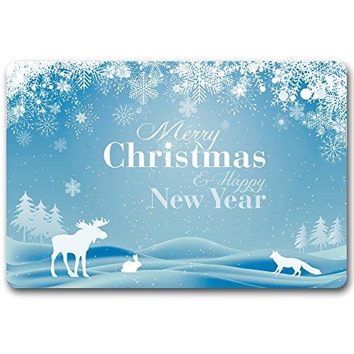 Maplehouse Paillasson (Merry Christmas et Happy New Year.) Motif Welcome Paillasson en Caoutchouc Tapis d'entrée intérieur/extérieur Lavable Home Decor 59,9 cm X 39,9 cm