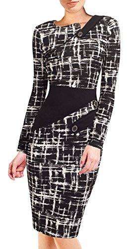 HOMEYEE - Vestido - Túnica - Manga Larga - para Mujer B231(48 = XXXX-Large,Negro + Blanco)