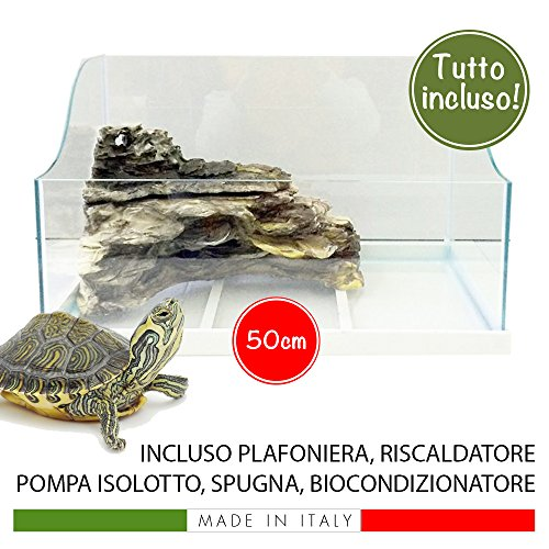 MTB Tartaplaya 50 - Tortuguera de vidrio para reptiles, con islote, kit completo