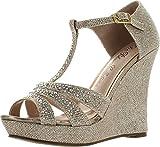 DeBlossom Womens Dressy Glitter Rhinestone T Strap Platform Wedge...