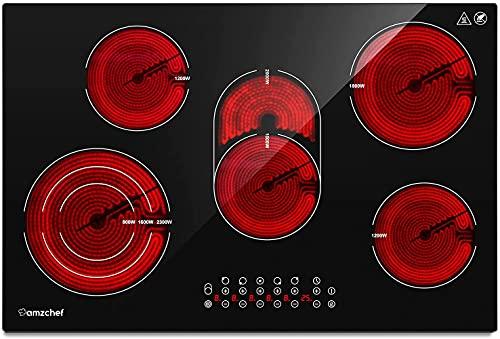 Placa vitrocerámica AMZCHEF Placa vitrocerámica 5 zonas con triple y zona tostadora, 9 niveles de potencia, control táctil, 8,5 kW, función temporizador, apagado automático, Cerradura de seguridad