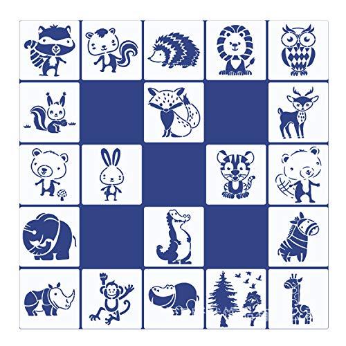 20 Stück Tierschablonen-Vorlagen für Kinder, Tiermalerei Schablone, Stencil Schablonen Wiederverwendbar, Zeichenschablonen Malschablonen, Stencil Schablonen, für DIY Handwerk/Malerei