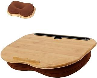 SUMISKY 膝上テーブル ラップデスク ノートパソコンデスク 枕 クッション 天然竹製 タブレット ラップトップテーブル(38x28cm ブラウン)