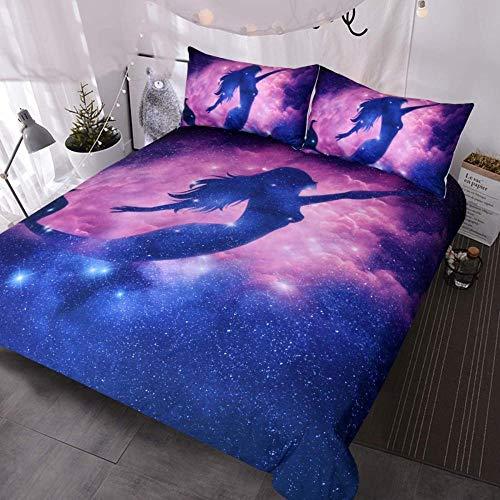 XZHYMJ Ropa de Cama de Sirena Doble niño niña Rosa púrpura Azul Ropa de Cama psicodélica Juego de 3 Piezas Funda nórdica Galaxy Colcha de Sirena-Dos_7,62 centímetros