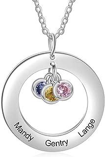 Roapk, collana con ciondolo a forma di cerchio, con nome personalizzato, in acciaio inox, regalo per donne