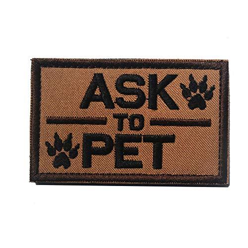 Ask to Pet Service Dog Patch Vests/Harnesses Emblem Embroidered Fastener Hook & Loop Patch (Pet-3)