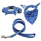 Rayzm Collar de Algodón/Correa y Pañuelo Set de 3PC para Perros Pequeños, Collar con Pajarita Extraíble, Bandana de Cuello Ajustable para Perros, Gatos y Mascotas(XS)