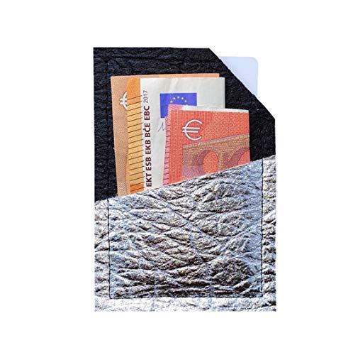 Wallet Ananasleder VEGAN & NACHHALTIG aus PINATEX I Portemonnaie I Kreditkartenetui I Geldbörse I Brieftasche - schwarz silber