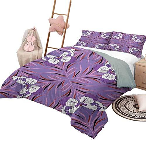 Quilt Set mit Bettlaken Mauve 3 Stück Tagesdecken Bettdecke Retro Polka Dots Hintergr& Nostalgisch Stilisierte Feminine Girls Fashion Artsy Muster Plum Lilac