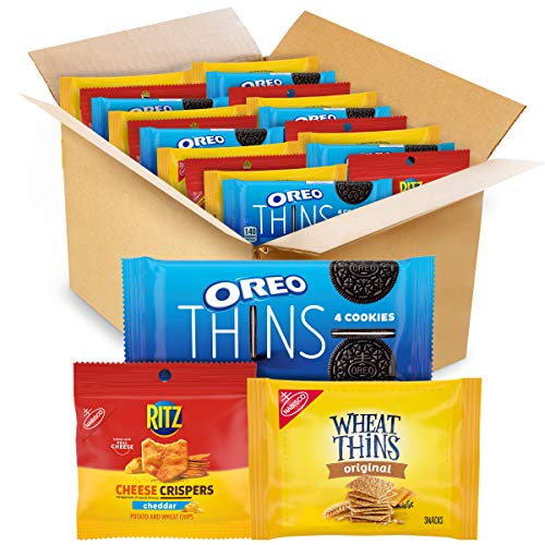 NABISCO , OREO Thins Chocolate Sandwich Cookies, RITZ Cheddar Flavor Cheese Crispers Chips and Wheat Thins Crackers Variety Pack, Snack Packs, (Pack Of 1), Cheddar/Cheese/Chocolate, 48 Count