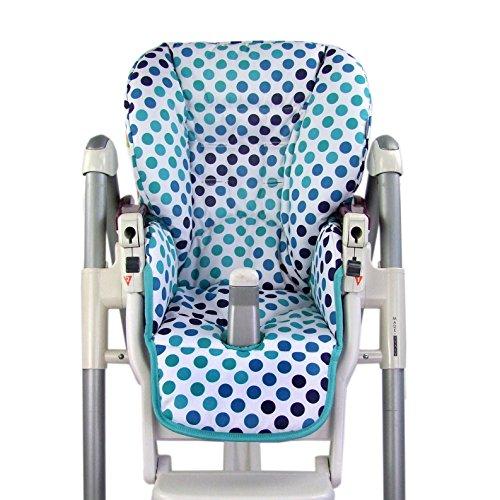 BambiniWelt Housse de rechange pour coussin de chaise Peg Perego Prima Pappa Diner Blanc/turquoise