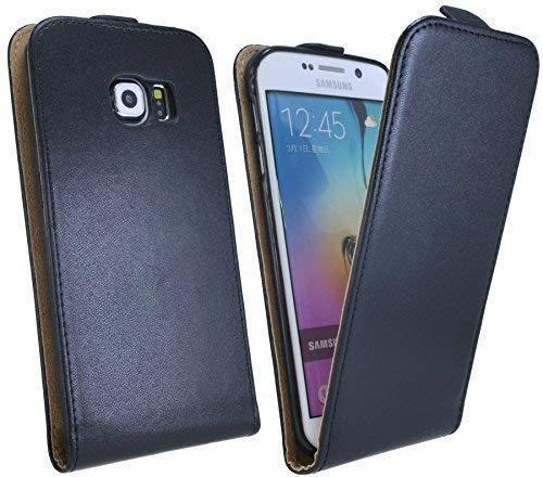 ENERGMiX Klapptasche Schutztasche kompatibel mit Samsung Galaxy S6 Edge+ G928F in Schwarz Tasche Hülle