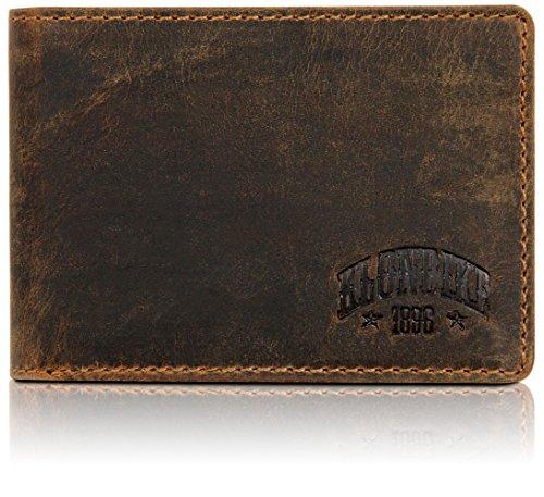 Klondike 1896 Gabe Geldbeutel Männer Leder – Kleine Geldbörse Herren Querformat Braun - Portmonaise Portemonnaie Portmonee Brieftasche Wallet Ledergeldbeutel