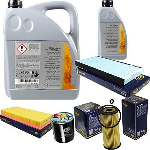 Filter Set Inspektionspaket 6 Liter Original Motoröl 5W-30 MB 229.51 SCT Germany Innenraumfilter Kraftstofffilter Luftfilter Ölfilter