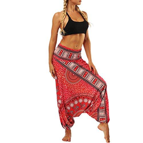 Männer und Frauen Lose Große Hosen Strampelhöschen Yoga-Hose-Haremshose Jogginghose Pilates Freizeithosen Weiche -Zwei Tragen Schritthose Baggy Boho Aladin Overall Haremshose(Rot,freie Größe)